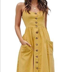 Women's Summer Dress - Mustard Yellow